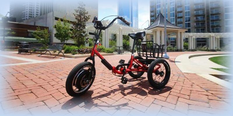 Трехколесный взрослый велосипед на электродвигателе